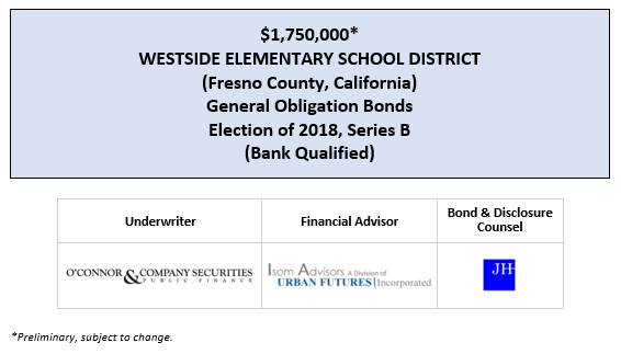 $1,750,000* WESTSIDE ELEMENTARY SCHOOL DISTRICT (Fresno County, California) General Obligation Bonds Election of 2018, Series B (Bank Qualified) POS POSTED 7-15-20