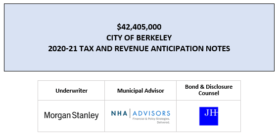 $42,405,000 CITY OF BERKELEY 2020-21 TAX AND REVENUE ANTICIPATION NOTES FOS POSTED 7-22-20