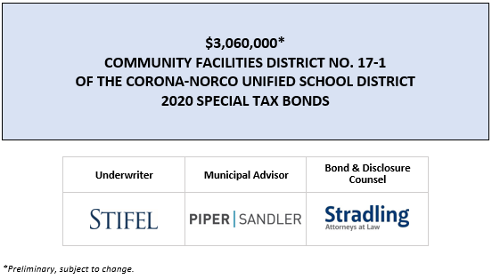 $3,060,000* COMMUNITY FACILITIES DISTRICT NO. 17-1 OF THE CORONA-NORCO UNIFIED SCHOOL DISTRICT 2020 SPECIAL TAX BONDS POS POSTED 7-27-20