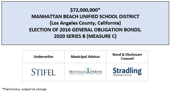 $72,000,000* MANHATTAN BEACH UNIFIED SCHOOL DISTRICT (Los Angeles County, California) ELECTION OF 2016 GENERAL OBLIGATION BONDS, 2020 SERIES B (MEASURE C) POS POSTED 8-5-20