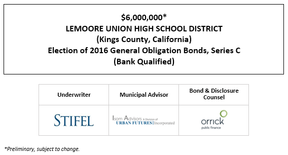 $6,000,000* LEMOORE UNION HIGH SCHOOL DISTRICT (Kings County, California) Election of 2016 General Obligation Bonds, Series C (Bank Qualified) POS POSTED 8-27-20
