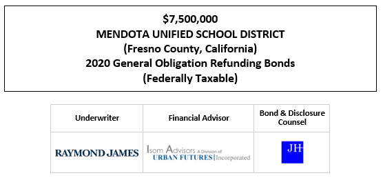 SUPPLEMENT TO OFFICIAL STATEMENT RELATING TO $7,500,000 MENDOTA UNIFIED SCHOOL DISTRICT (Fresno County, California) 2020 General Obligation Refunding Bonds (Federally Taxable) SUPPLEMENT POSTED 9-24-20