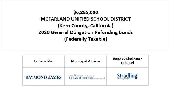 $6,285,000 MCFARLAND UNIFIED SCHOOL DISTRICT (Kern County, California) 2020 General Obligation Refunding Bonds (Federally Taxable) FOS POSTED 9-17-20
