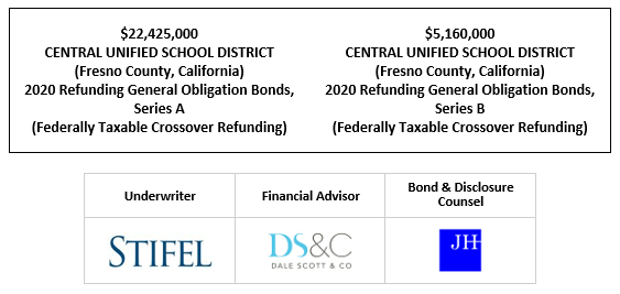 $22,425,000 CENTRAL UNIFIED SCHOOL DISTRICT (Fresno County, California) 2020 Refunding General Obligation Bonds, Series A (Federally Taxable Crossover Refunding) $5,160,000 CENTRAL UNIFIED SCHOOL DISTRICT (Fresno County, California) 2020 Refunding General Obligation Bonds, Series B (Federally Taxable Crossover Refunding) FOS POSTED 9-24-20