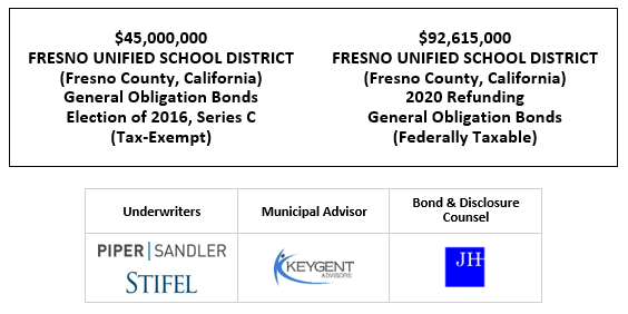 $45,000,000 FRESNO UNIFIED SCHOOL DISTRICT (Fresno County, California) General Obligation Bonds Election of 2016, Series C (Tax-Exempt) Dated $92,615,000 FRESNO UNIFIED SCHOOL DISTRICT (Fresno County, California) 2020 Refunding General Obligation Bonds (Federally Taxable) FOS POSTED 9-24-20