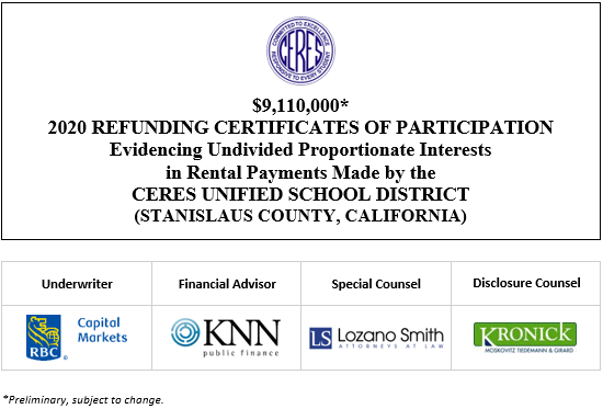 $9,110,000∗ 2020 REFUNDING CERTIFICATES OF PARTICIPATION Evidencing Undivided Proportionate Interests in Rental Payments Made by the CERES UNIFIED SCHOOL DISTRICT (STANISLAUS COUNTY, CALIFORNIA) POS POSTED 9-18-20