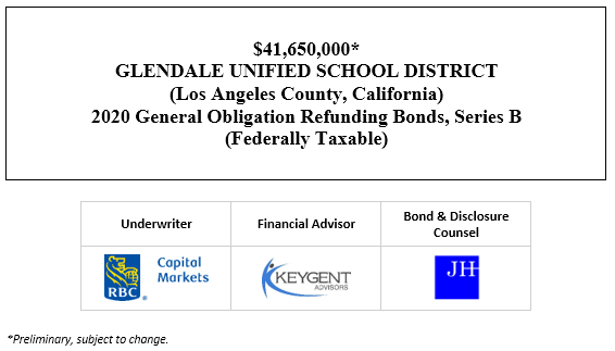 $41,650,000* GLENDALE UNIFIED SCHOOL DISTRICT (Los Angeles County, California) 2020 General Obligation Refunding Bonds, Series B (Federally Taxable) POS POSTED 9-24-20