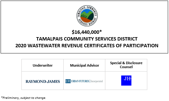 $16,440,000* TAMALPAIS COMMUNITY SERVICES DISTRICT 2020 WASTEWATER REVENUE CERTIFICATES OF PARTICIPATION POS POSTED 9-15-20