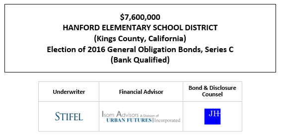 $7,600,000 HANFORD ELEMENTARY SCHOOL DISTRICT (Kings County, California) Election of 2016 General Obligation Bonds, Series C (Bank Qualified) FOS POSTED 10-2-20