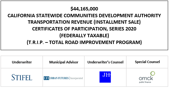 $44,165,000 CALIFORNIA STATEWIDE COMMUNITIES DEVELOPMENT AUTHORITY TRANSPORTATION REVENUE (INSTALLMENT SALE) CERTIFICATES OF PARTICIPATION, SERIES 2020 (FEDERALLY TAXABLE) (T.R.I.P. – TOTAL ROAD IMPROVEMENT PROGRAM) FOS POSTED 10-1-20