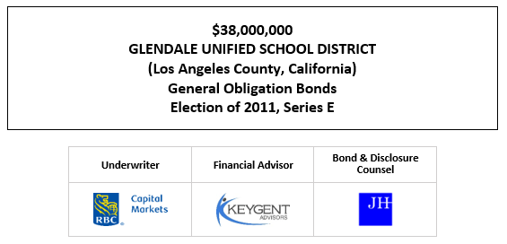 $38,000,000 GLENDALE UNIFIED SCHOOL DISTRICT (Los Angeles County, California) General Obligation Bonds Election of 2011, Series E FOS POSTED 10-14-20