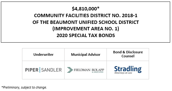 $4,810,000* COMMUNITY FACILITIES DISTRICT NO. 2018-1 OF THE BEAUMONT UNIFIED SCHOOL DISTRICT (IMPROVEMENT AREA NO. 1) 2020 SPECIAL TAX BONDS POS POSTED 10-1-20