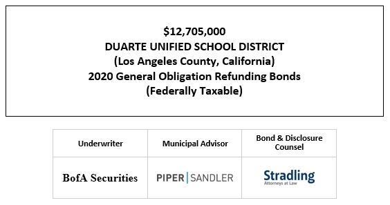 $12,705,000 DUARTE UNIFIED SCHOOL DISTRICT (Los Angeles County, California) 2020 General Obligation Refunding Bonds (Federally Taxable) FOS POSTED 10-20-20