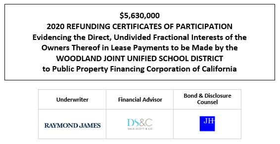 $5,630,000 2020 REFUNDING CERTIFICATES OF PARTICIPATION Evidencing the Direct, Undivided Fractional Interests of the Owners Thereof in Lease Payments to be Made by the WOODLAND JOINT UNIFIED SCHOOL DISTRICT to Public Property Financing Corporation of California FOS POSTED 10-21-20