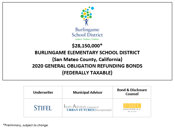 $28,150,000* BURLINGAME ELEMENTARY SCHOOL DISTRICT (San Mateo County, California) 2020 GENERAL OBLIGATION REFUNDING BONDS (FEDERALLY TAXABLE) POS POSTED 10-14-20