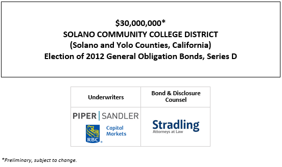 $30,000,000* SOLANO COMMUNITY COLLEGE DISTRICT (Solano and Yolo Counties, California) Election of 2012 General Obligation Bonds, Series D POS POSTED 10-22-20