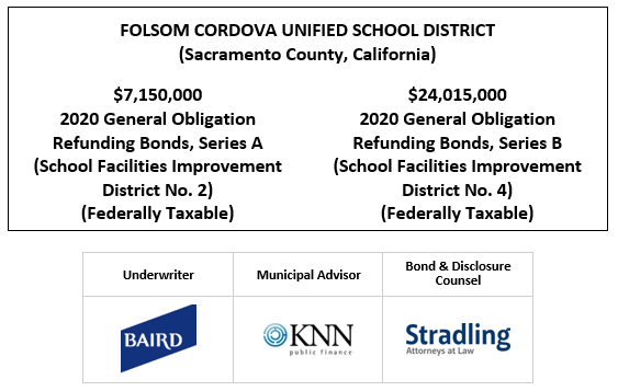 FOLSOM CORDOVA UNIFIED SCHOOL DISTRICT (Sacramento County, California) $7,150,000 2020 General Obligation Refunding Bonds, Series A (School Facilities Improvement District No. 2) (Federally Taxable) $24,015,000 2020 General Obligation Refunding Bonds, Series B (School Facilities Improvement District No. 4) (Federally Taxable) FOS POSTED 10-30-20