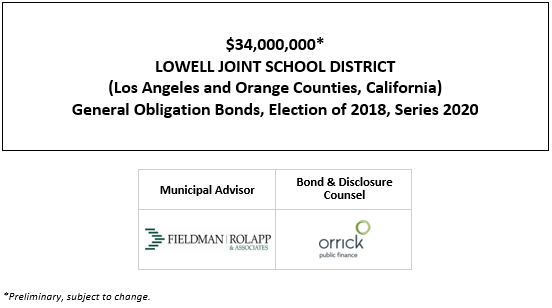 $34,000,000* LOWELL JOINT SCHOOL DISTRICT (Los Angeles and Orange Counties, California) General Obligation Bonds, Election of 2018, Series 2020 POS POSTED 10-6-20