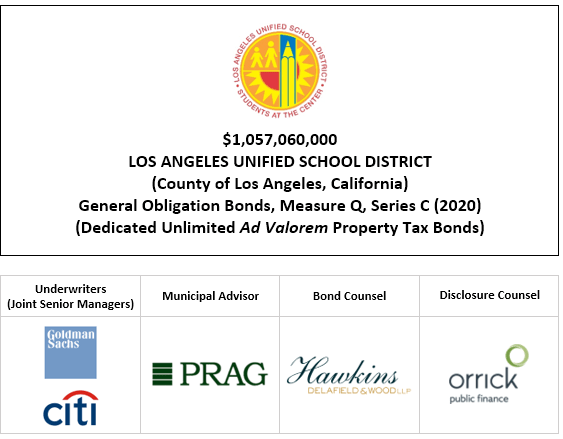 $1,057,060,000 LOS ANGELES UNIFIED SCHOOL DISTRICT (County of Los Angeles, California) General Obligation Bonds, Measure Q, Series C (2020) (Dedicated Unlimited Ad Valorem Property Tax Bonds) FOS POSTED 11-5-20