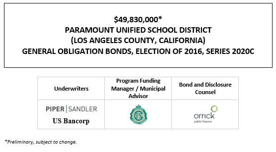 $49,830,000* PARAMOUNT UNIFIED SCHOOL DISTRICT (LOS ANGELES COUNTY, CALIFORNIA) GENERAL OBLIGATION BONDS, ELECTION OF 2016, SERIES 2020C POS POSTED 11-12-20