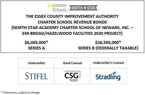 THE ESSEX COUNTY IMPROVEMENT AUTHORITY CHARTER SCHOOL REVENUE BONDS (NORTH STAR ACADEMY CHARTER SCHOOL OF NEWARK, INC. – 559 BROAD/HAZELWOOD FACILITIES 2020 PROJECT) $5,955,000* SERIES A $26,550,000* SERIES B (FEDERALLY TAXABLE) PLOM POSTED 12-11-20