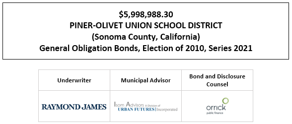 $5,998,988.30 PINER-OLIVET UNION SCHOOL DISTRICT (Sonoma County, California) General Obligation Bonds, Election of 2010, Series 2021 FOS POSTED 1-14-21