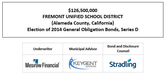 $107,700,000 FREMONT UNIFIED SCHOOL DISTRICT (Alameda County, California) 2021 General Obligation Refunding Bonds (Federally Taxable) FOS POSTED 1-22-21