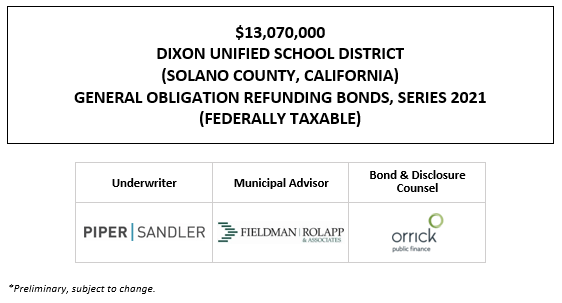 $13,070,000 DIXON UNIFIED SCHOOL DISTRICT (SOLANO COUNTY, CALIFORNIA) GENERAL OBLIGATION REFUNDING BONDS, SERIES 2021 (FEDERALLY TAXABLE) FOS POSTED 1-21-21