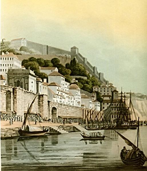 Na estampa de Henry Smith de 1809 pode-se ter uma ideia  precisa da capela de Nossa Senhora do Ó sobre o muro da Ribeira.