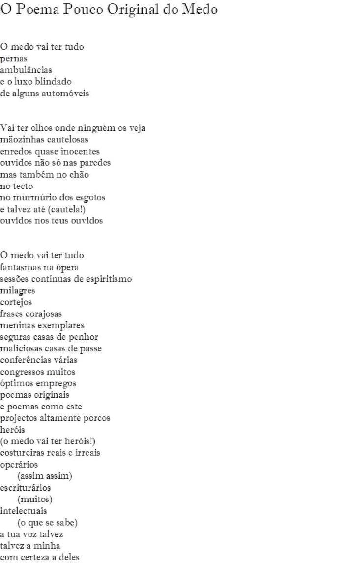 O poema pouco original do medo - I