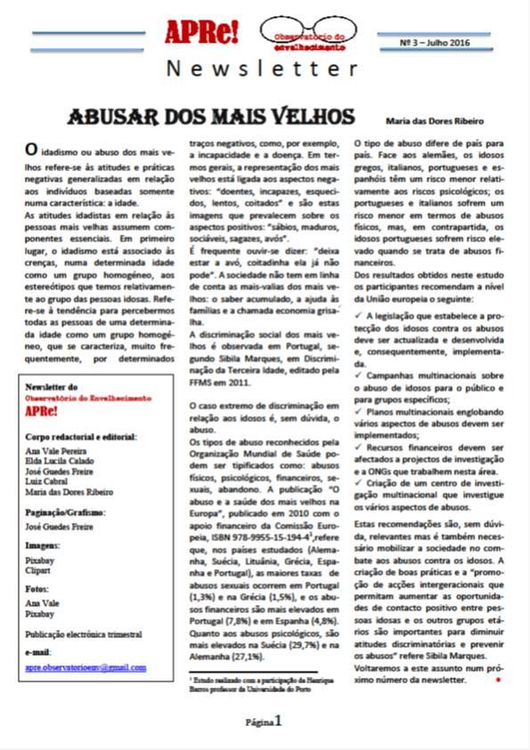 APRe! - Observatório do Envelhecimento - Newsletter nº 3 - I