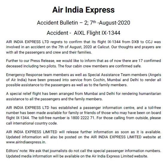 air india express statement