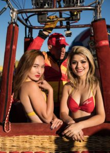 Beautiful young bikini flight attendants participate in Balloon Fiesta 1