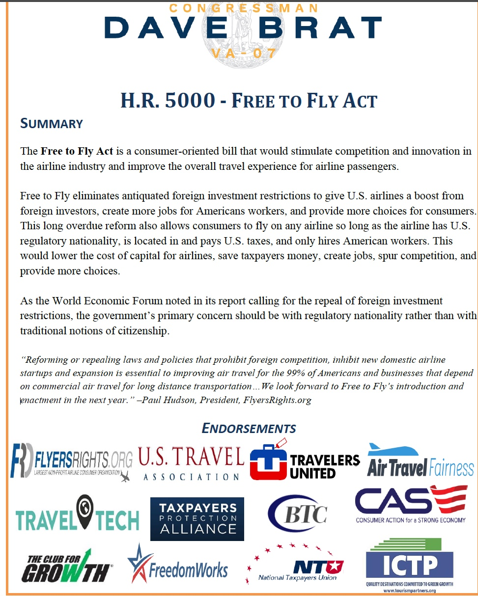 """Congressman Brat files """"Free to Fly Act"""" law, opening foreign investments in U.S. airlines 2"""