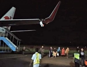 Lion Air plane forced to abort takeoff after hitting lamp post