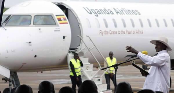 Water salute welcomes Uganda Airlines inaugural flight at Nairobi Airport 6