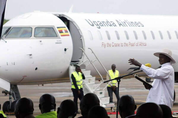 Water salute welcomes Uganda Airlines inaugural flight at Nairobi Airport 1