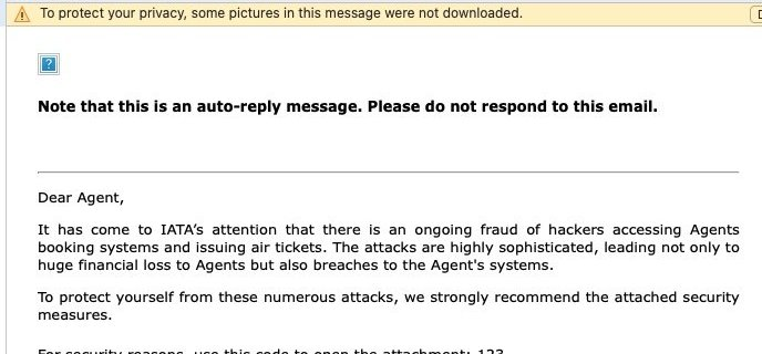"""An """"IATA Fraud Alert"""" email will compromise your computer 12"""