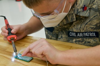 Male cadet from the North Carolina Wing of the Civil Air Patrol (CAP) at STEM Workshop at Aviation Institute of Maintenance in Charlotte.