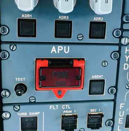 Overhead panel of Airbus aircraft showing Auxiliary Power Unit/APU panel.