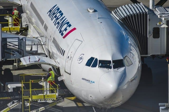 Air France Airbus A330 at the gate being loaded for take-off.