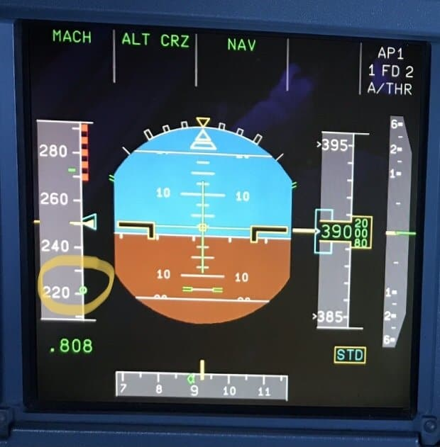 Airbus PFD (Primary Flight Displaying) showing Green Dot Speed on speed tape.