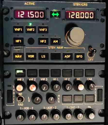 Radio Management Panel (RMP) on Airbus A330 aircraft showing 121.5MHz guard selected on VHF radio 2.
