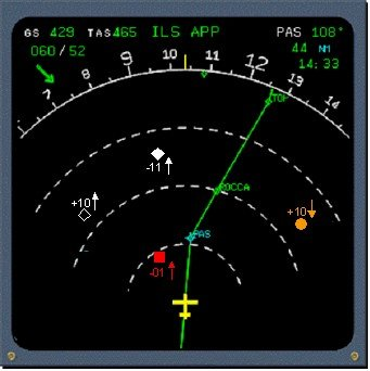Navigation Display (ND) showing TCAS proximate traffic, traffic alert (TA) and resolution advisory (RA).