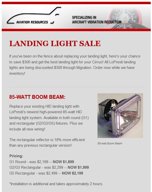 LANDING LIGHT SALE PG 1