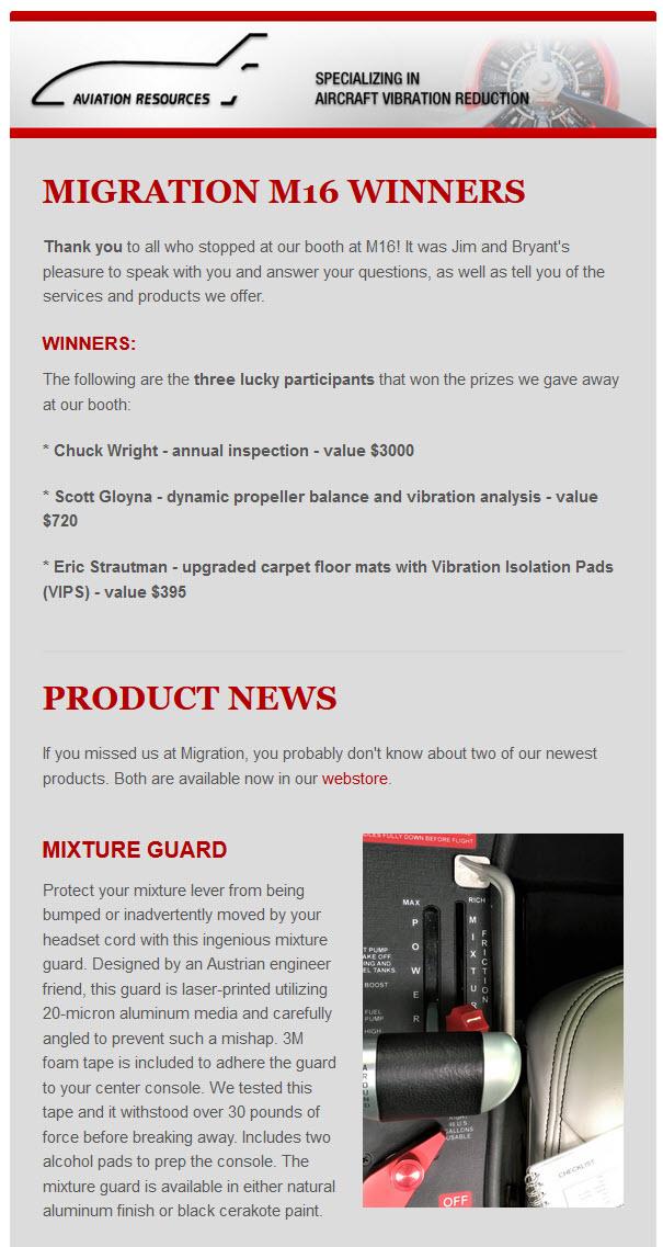 M16 WINNERS PRODUCT NEWS