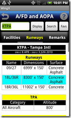 AFD Runways screen