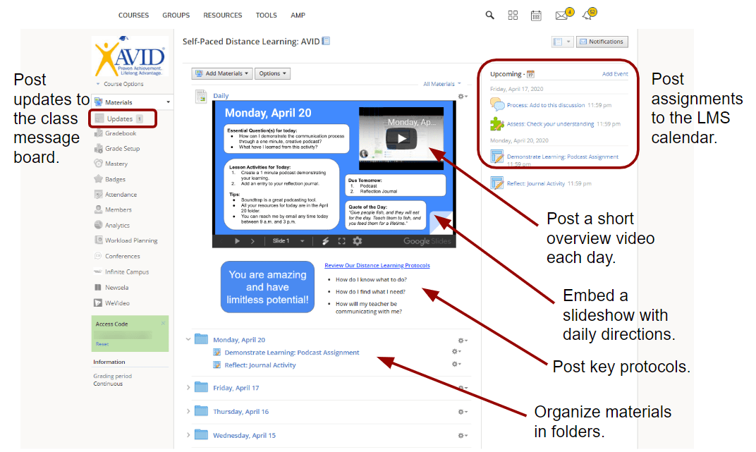 Annotated screenshot of LMS showing key features