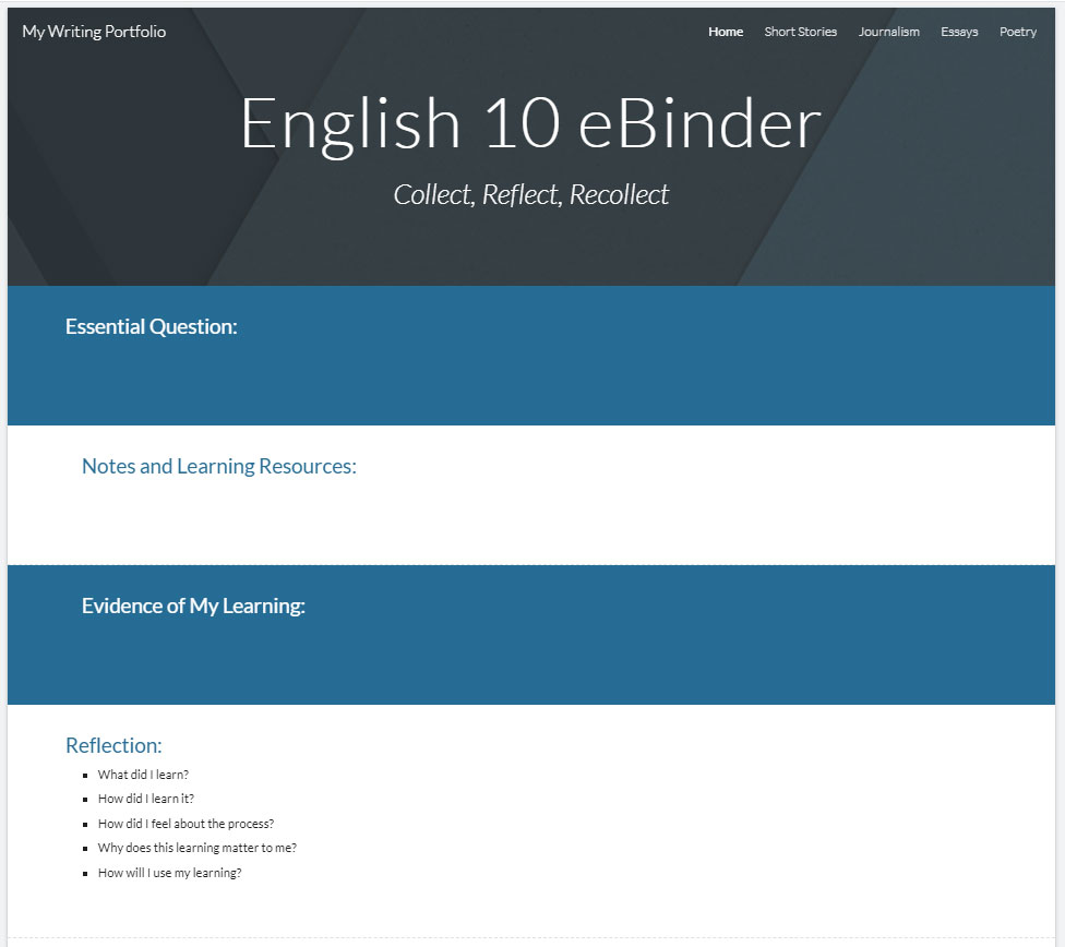 sample eBinder created with Google Sites