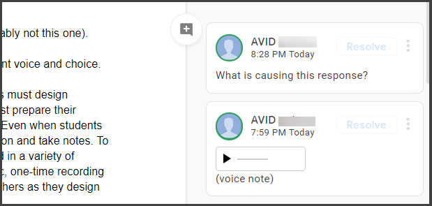 Sample of commenting on notes in Google Docs
